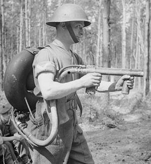 Mk III helmet - Image: IWM H 37975 Flame thrower lifebuoy