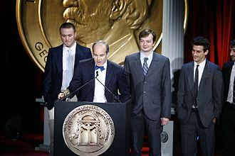 King Corn (film) - Ian Cheney, Aaron Woolf, Curtis Ellis, and Sam Cullman accept the Peabody Award in May 2009