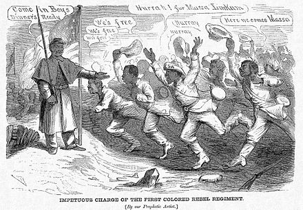 An 1864 cartoon lampooning the Confederacy's deliberating on the use of black soldiers, showing them defecting en masse towards U.S. lines if such proposals were adopted. Impetuous Charge of the First Colored Rebel Regiment (November 5, 1864), by Frank Bellew.jpg