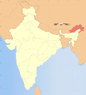Map of India showing location of Arunachal Pradesh