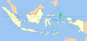Location of North Maluku in Indonesia