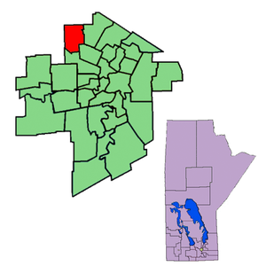 Inkster (electoral district) - The 1998-2011 boundaries for Inkster highlighted in red