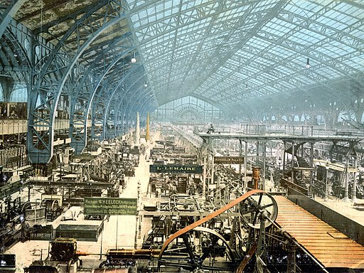 Interior of exhibition building, Exposition Universal, Paris, France