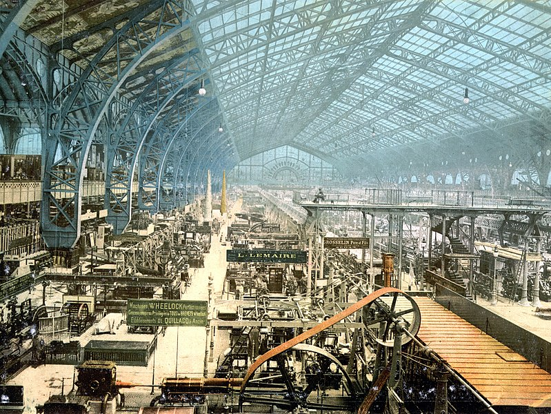 Fichier:Interior of exhibition building, Exposition Universal, Paris, France.jpg