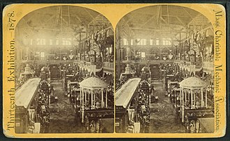 Massachusetts Charitable Mechanic Association - Image: Interior showing wares, from Robert N. Dennis collection of stereoscopic views 2