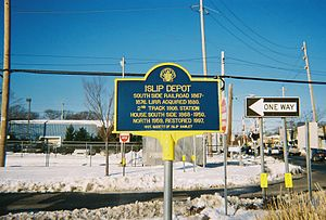 Islip (LIRR station) - Image: Islip Station Historic Plaque