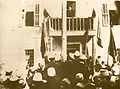 Ismail Kemal bey Vlora speaking in Vlora 1912.jpg