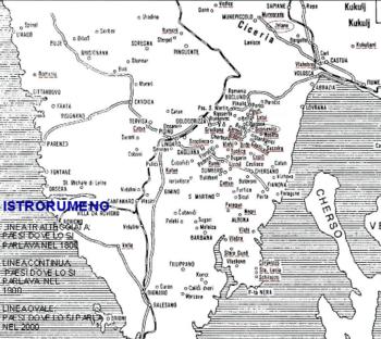 Villaggi popolati da Istrorumeni nel 1800, 1900 e 2000
