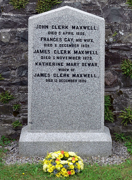 The gravestone at Parton Kirk (Galloway) of James Clerk Maxwell, his parents and his wife JCM Grave-1.jpg