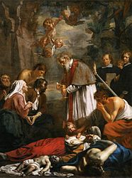 Jacob van Oost the Younger: Saint Macarius of Ghent Giving Aid to the Plague Victims