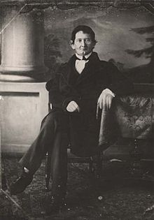 Black and white daguerreotype of James Dellet