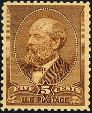 "a brown postage stamp has a portrait of Garfield in an oval within a shield. A banner below reads ""five cents U.S. postage"""