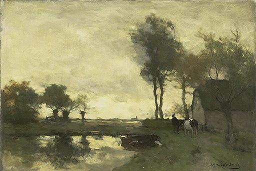Jan Hendrik Weissenbruch - Landschap met boerderij bij een plas