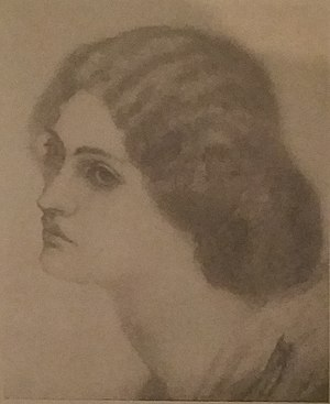 Jane Morris - Jane sketched by Morris at age 18, while engaged to him.
