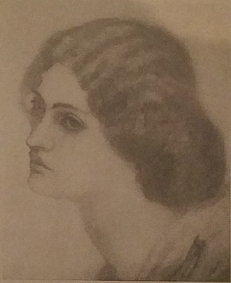 Jane Morris - Jane sketched by Morris at age 18, while engaged to him