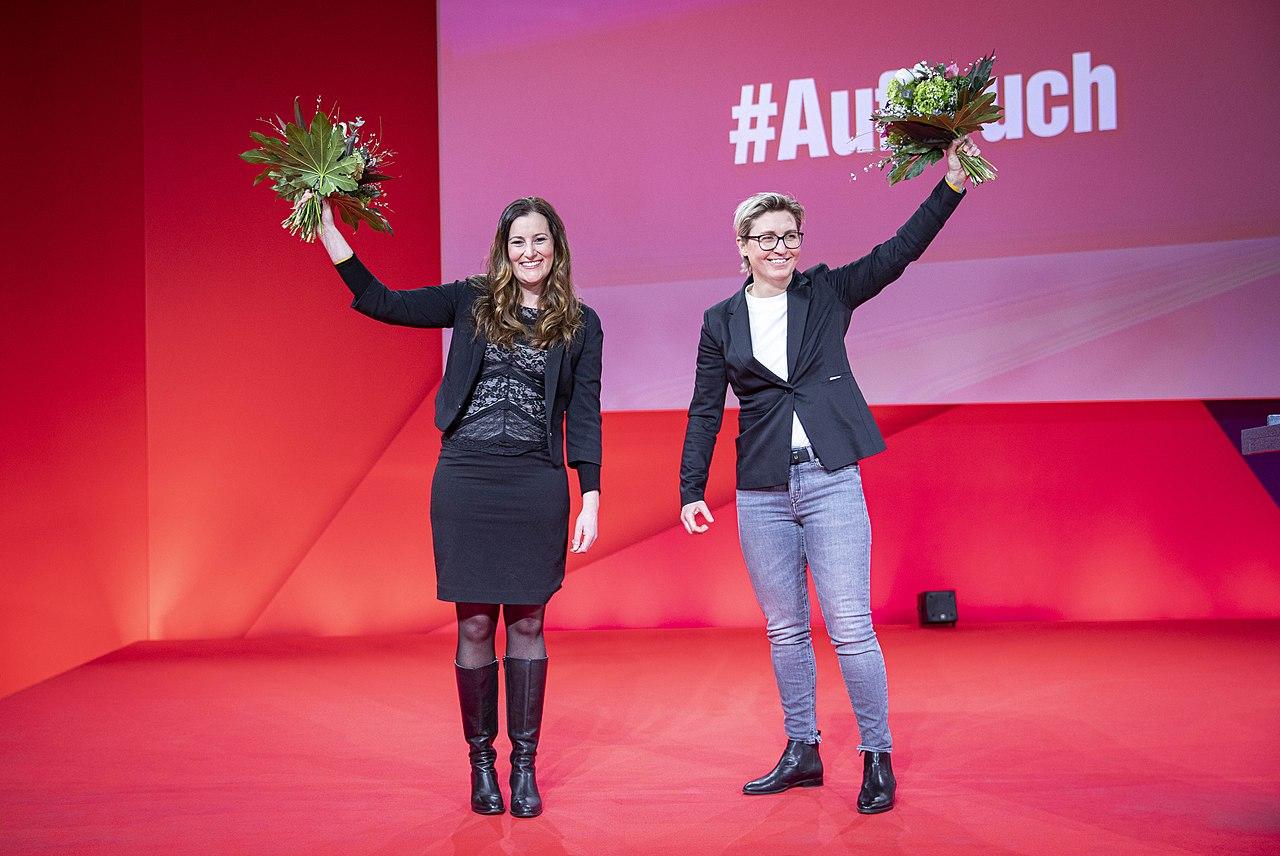 Janine Wissler & Susanne Hennig-Wellsow 2021-02-27 Digitalparteitag Die Linke 2021 by Martin Heinlein.jpg