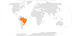 Map indicating locations of Japan and Brazil