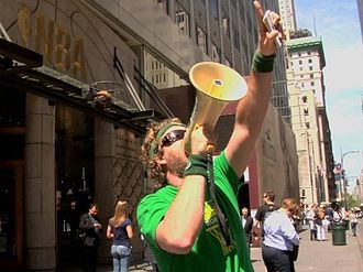 Sonicsgate - Sonicsgate director Jason Reid draws attention to the Sonicsgate story speaking through a bullhorn outside the flagship NBA store in New York City.
