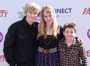 Bridgit Mendler - Jason Dolley, Mendler, and Bradley Steven Perry in October 2010