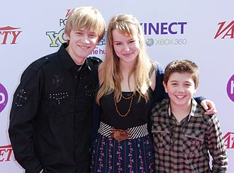Bridgit Mendler - Jason Dolley, Mendler, and Bradley Steven Perry in October 2010