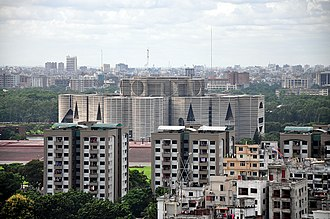 Architecture of Bengal - The Dhaka skyline, including the Jatiya Sangsad Bhaban