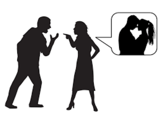 Jealousy - Woman displaying jealousy while imagining her significant other with another woman