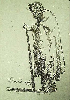 Jean-Baptiste Marie Pierre - Vieillard (1739). Etching by Jean-Baptiste Marie Pierre from a series entitled Figures drawn from nature from the lower classes of Rome.