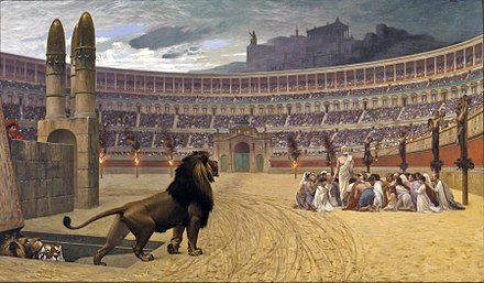 The Christian Martyrs' Last Prayer, by Jean-Leon Gerome (1883). Roman Colosseum. Jean-Leon Gerome - The Christian Martyrs' Last Prayer - Walters 37113.jpg