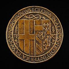 Arms of Filiberto Impalling Those of Margaret [reverse]