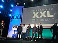 Jeff Rowley Billabong XXL Big Wave Awards 2012 Ride of the Year Finalists on stage with Nathan Fletcher Ryan Hipwood Greg Long Garrett McNamara - Flickr - Jeff Rowley Big Wave Surfer.jpg