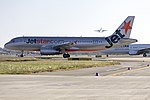Jetstar (VH-VGZ) Airbus A320-232 taxiing to taxiway Echo at Sydney Airport.jpg