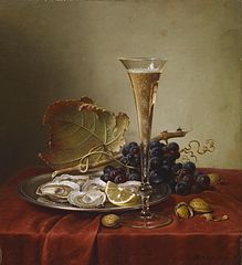 Grapes, Oysters, Hazlenuts and a Champagne Flute on a draped Ledge