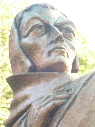 Duns Scotus - A statue of John Duns Scotus by Frank Tritchler in the Public Park in the town of Duns erected in 1966