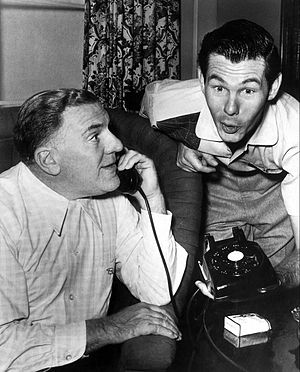 The Johnny Carson Show - Carson with guest William Bendix in 1955.