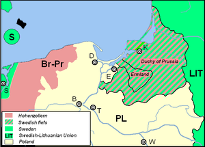 Treaty of Königsberg (1656) - Duchy of Prussia and Ermland (Warmia) as Swedish fiefs
