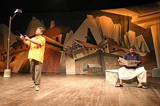"Girangaon - Scene from a popular 2007 play ""Cotton 56 Polyester 84"" by Sunil Shanbag about life in Girangaon"