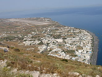 Santorini (Thira) International Airport - Kamari town and Santorini International Airport
