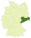 Map of Germany with the location of Saxony highlighted