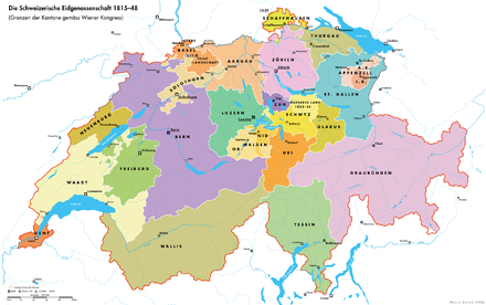 Switzerland following the Congress of Vienna, with the borders of Outer Schwyz and Inner Schwyz