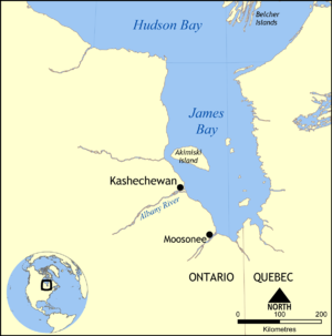 Kashechewan First Nation - Map showing the location of Kashechewan, Ontario.