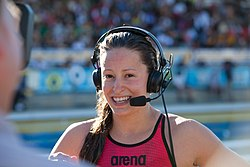 Katerine Savard after winning 100 butterfly-2 (9002637656).jpg