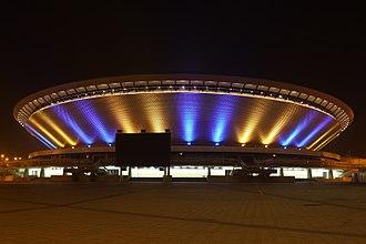 2017 Men's European Volleyball Championship - Image: Katowice Spodek nowa iluminacja