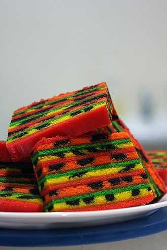 Sarawak layer cake - A colourful Kek Lapis containing raisins
