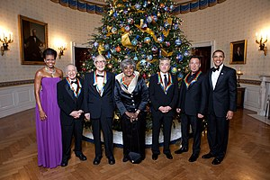 Kennedy Center Honors - Kennedy Center honorees 2009 Mel Brooks, Dave Brubeck, Grace Bumbry, Robert De Niro, and Bruce Springsteen, with President Barack Obama and First Lady Michelle Obama in the Blue Room, White House, Dec. 6, 2009.
