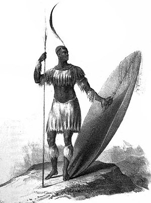 Military history of South Africa - Only known drawing of King Shaka Zulu holding an assegai and heavy shield, 1824.