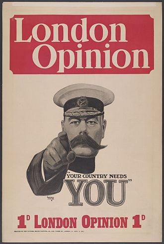 Recruitment to the British Army during the First World War - Iconic First World War recruitment poster featuring Lord Kitchener (Alfred Leete 1882–1933)