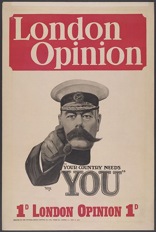 The image of Lord Kitchener was iconic; seen here on the front page of a magazine as drawn by Alfred Leete (1882–1933)