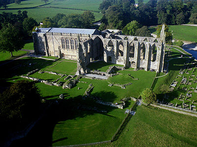 Bolton Abbey in Yorkshire, surviving parochial nave and ruined monastic choir Kite aerial photo of Bolton Abbey.jpg