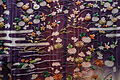Kosode (garment with small wrist openings), view 2, Edo period, 19th century, stream, flowing plant, house and insect cage design on purple and light green tussah silk crepe ground - Tokyo National Museum - DSC06000.JPG