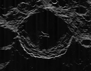 Kovalevskaya (crater) - Another oblique view from Lunar Orbiter 5, with the crater at the terminator
